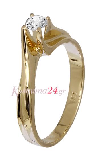 Χρυσό δαχτυλίδι με διαμάντι 019143  527e940d872