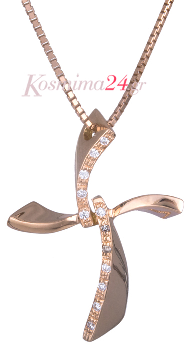 Σταυρός σε ροζ χρυσό 18Κ με διαμάντια 019725  11ada4ce86b