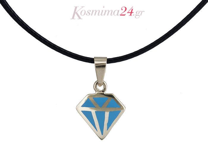 Κολιέ διαμάντι με σμάλτο Κ14 020147  f9e45567603