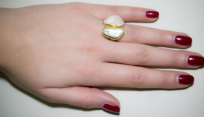 Δίχρωμο δαχτυλίδι 925 με ορυκτές πέτρες 021032  a4813910a6b