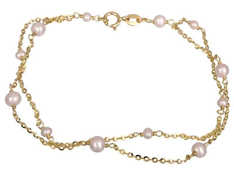 Χρυσό διπλό βραχιόλι με μαργαριτάρια Κ14 021496  8532316fe15