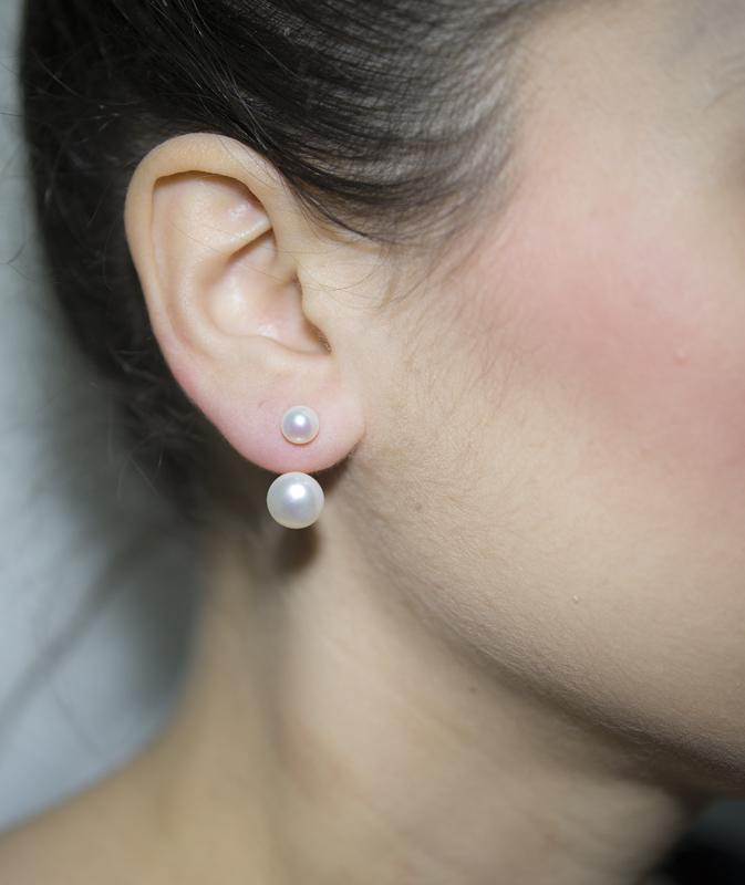 Ασημένια σκουλαρίκια με διπλά μαργαριτάρια 925 021743  00dd072ac79