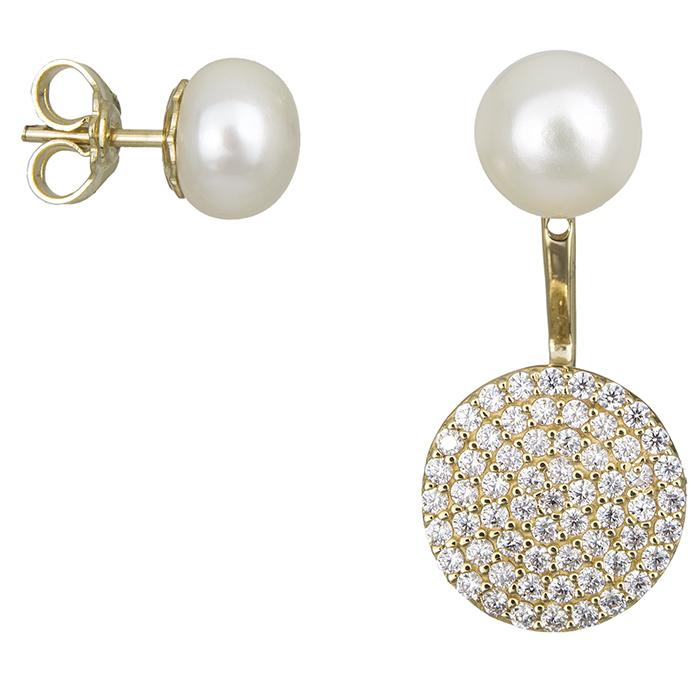 Χρυσά διπλά σκουλαρίκια με μαργαριτάρια Κ14 021832  f53ca40ec66