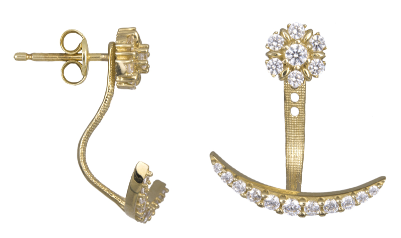 Χρυσά διπλά σκουλαρίκια Κ14 022438  b5ecc9ca6fc