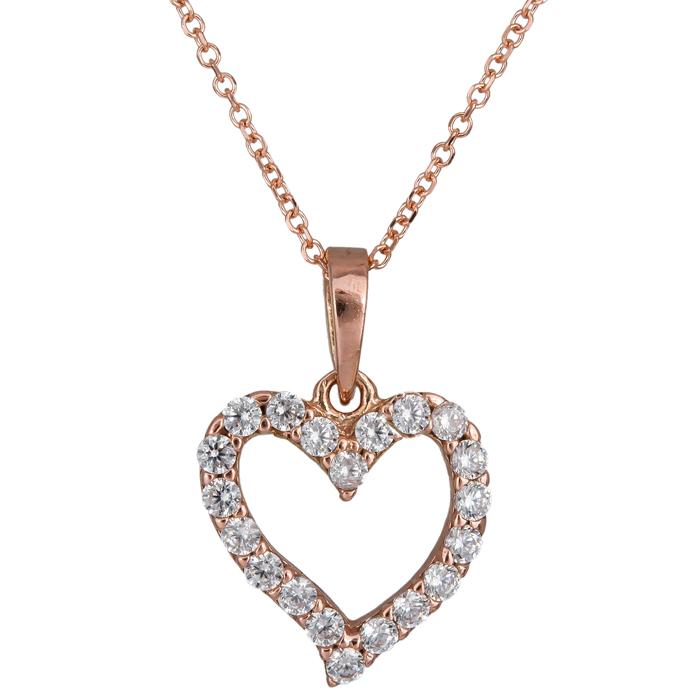 d0613777fd Χειροποίητο ροζ gold κολιέ 14Κ με καρδιά από ζιργκόν 024491