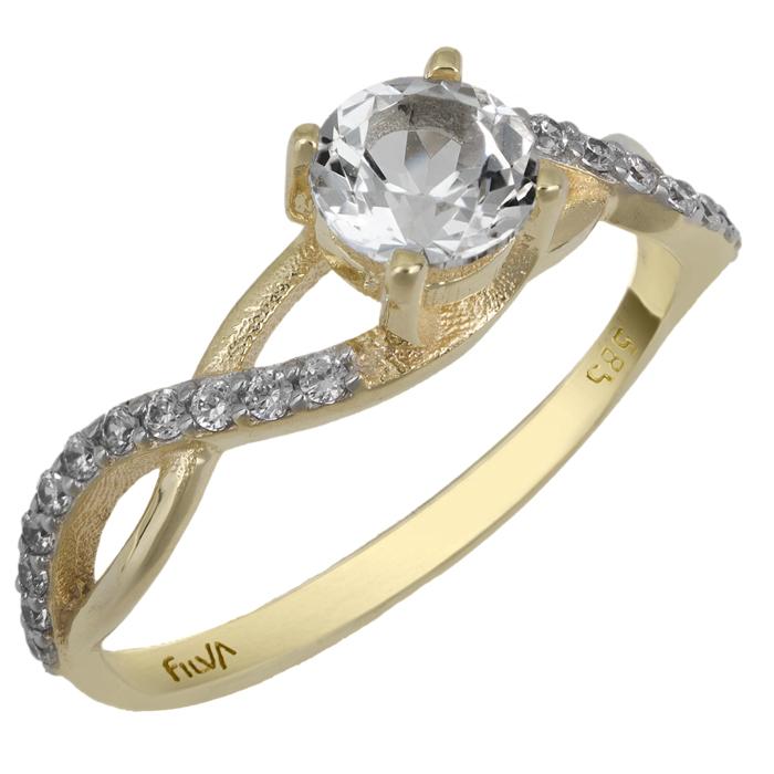 Χρυσό δαχτυλίδι με ορυκτές πέτρες swarovski Κ14 025760  bb772ea24bf