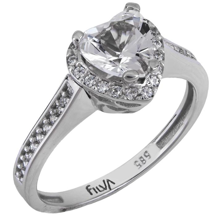 Μονόπετρο δαχτυλίδι με καρδιά swarovski λευκόχρυσο K14 025769 ... 33439282881