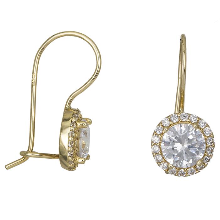 Χρυσά κρεμαστά σκουλαρίκια ροζέτες με πέτρες Κ14 026408  b80e478da07