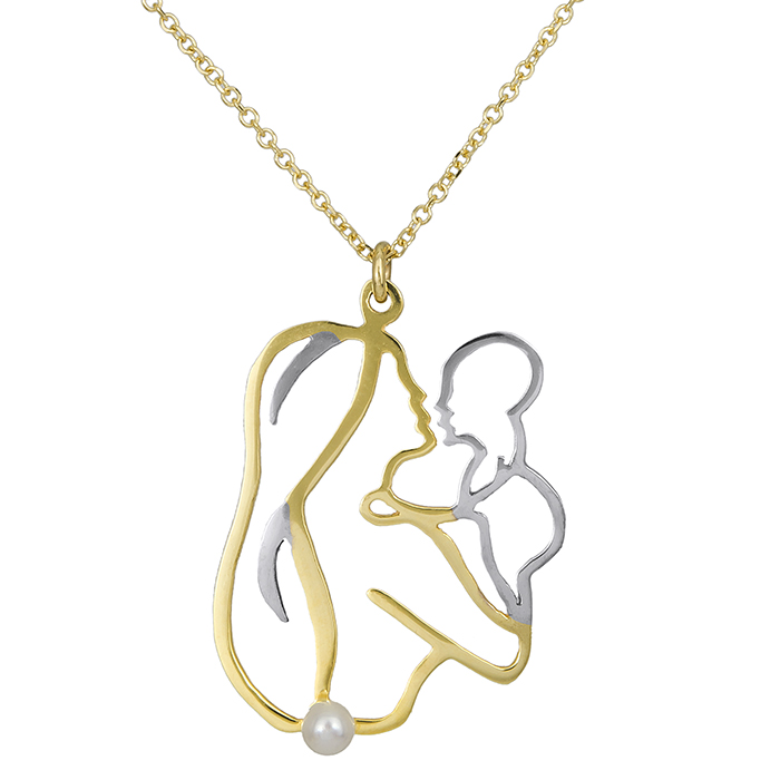 Χρυσό κολιέ K14 μαμά και μωρό με μαργαριτάρι 027165  3893a5d6f19