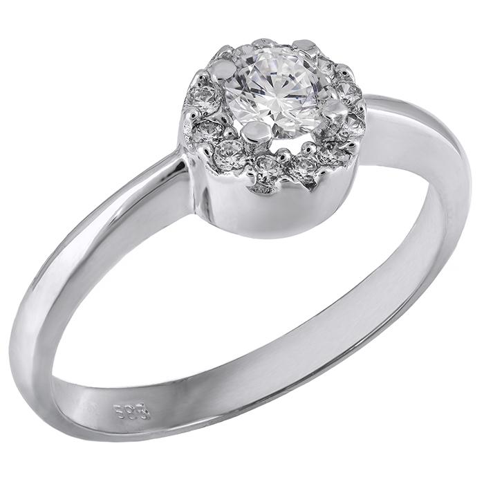 Λευκόχρυσο μονόπετρο δαχτυλίδι Κ14 με ζιργκόν 028175  800b1f00422