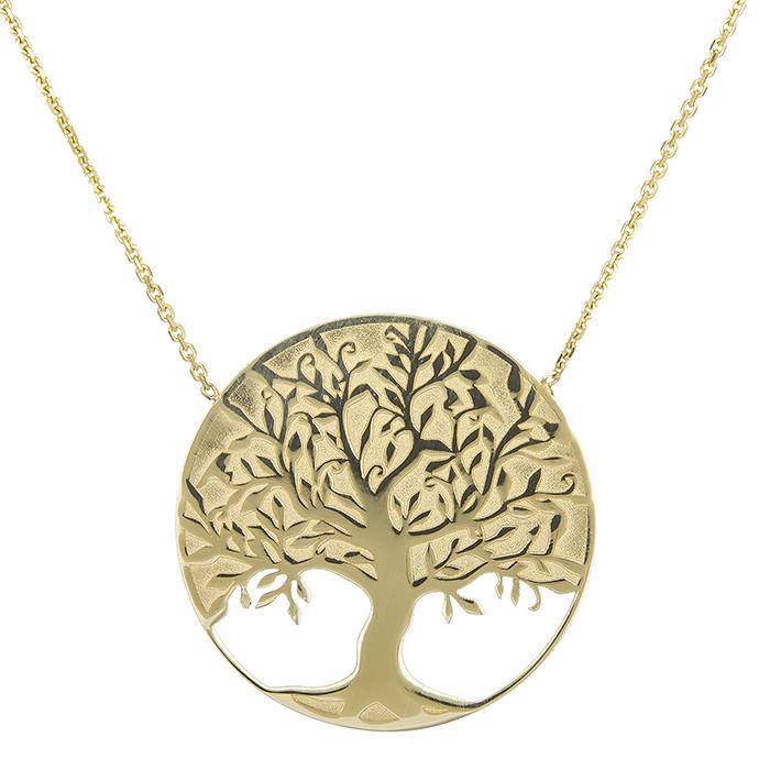 Γυναικείο χρυσό κολιέ Κ14 δέντρο ζωής 028927  9aff0be6195