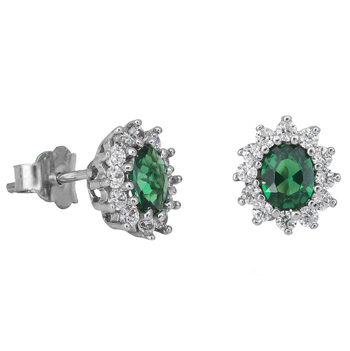 Λευκόχρυσα σκουλαρίκια Κ14 ροζέτα με πράσινη πέτρα 029020  a8f473b9ec2