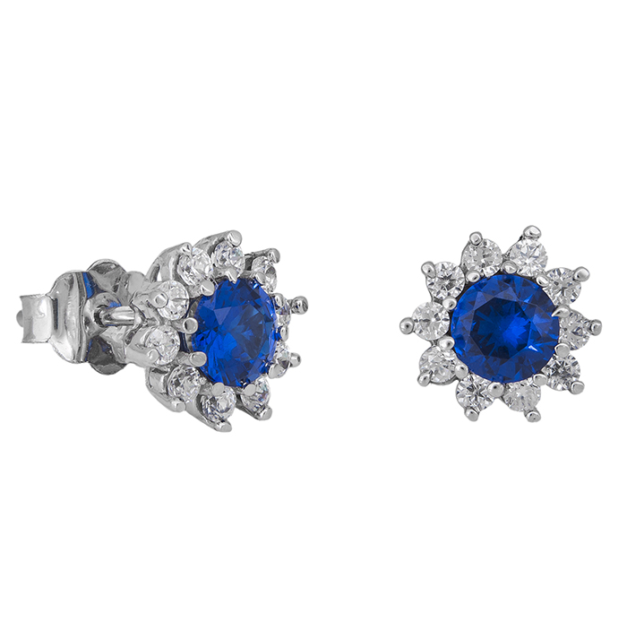 Λευκόχρυσα σκουλαρίκια Κ14 ροζέτα με μπλε πέτρα 029021  0fec7027692