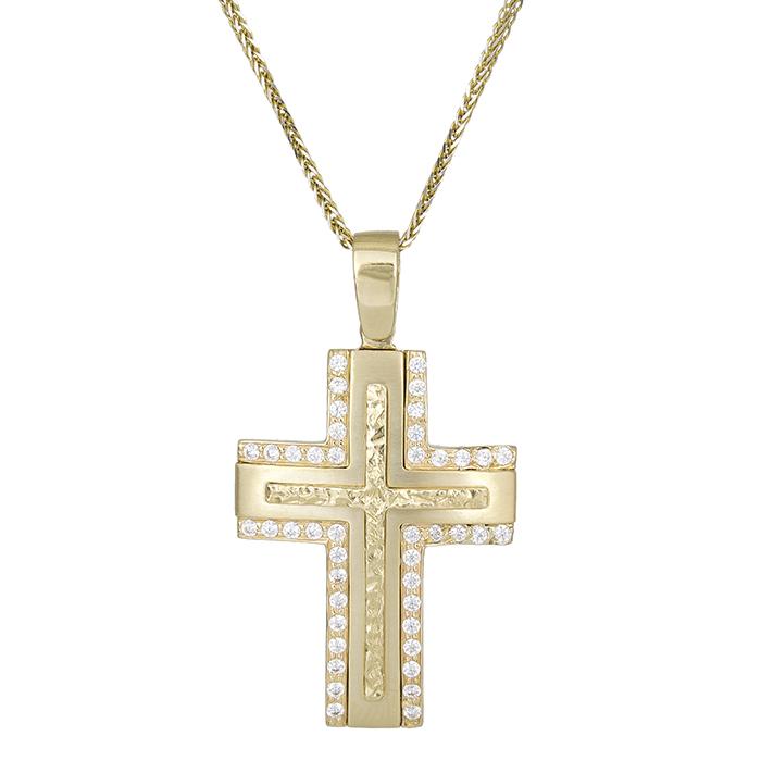 Χρυσός σταυρός με αλυσίδα Κ9 με λευκές ζιργκόν 029485C  27b5f2dac91