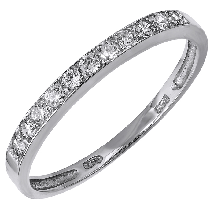 Λευκόχρυσο σειρέ δαχτυλίδι Κ14 με ζιργκόν πέτρες 029817  3491c194ee9