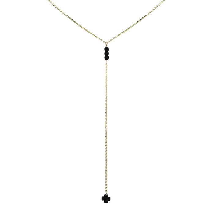 Χρυσό κολιέ Κ9 γραβάτα με πέτρες όνυχα 029936  dec9e7b7cdd