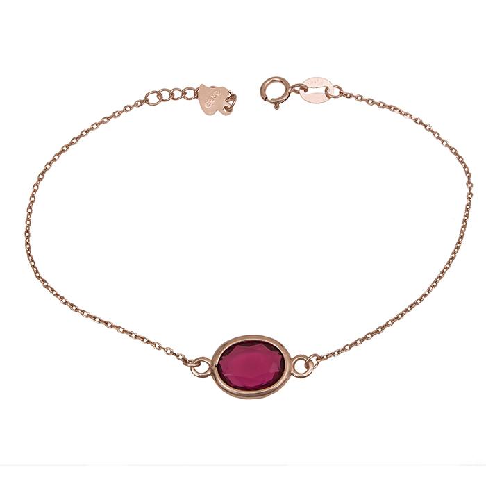 Ροζ επίχρυσο βραχιόλι 925 με κόκκινη πέτρα 029971  de51515e06c