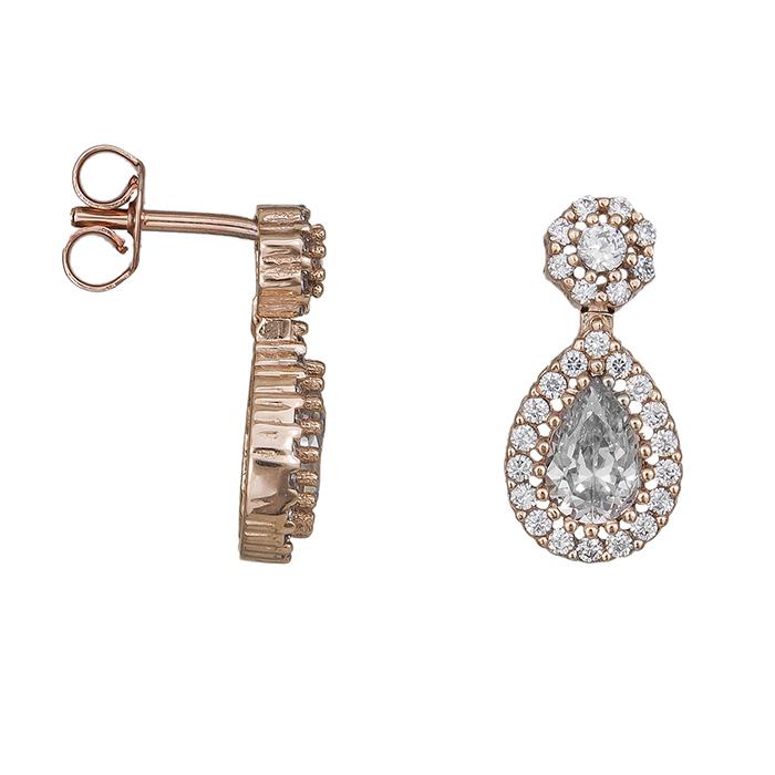 Σκουλαρίκια ροζ gold Κ14 δάκρυ με ζιργκόν 030181  e41c57ef223