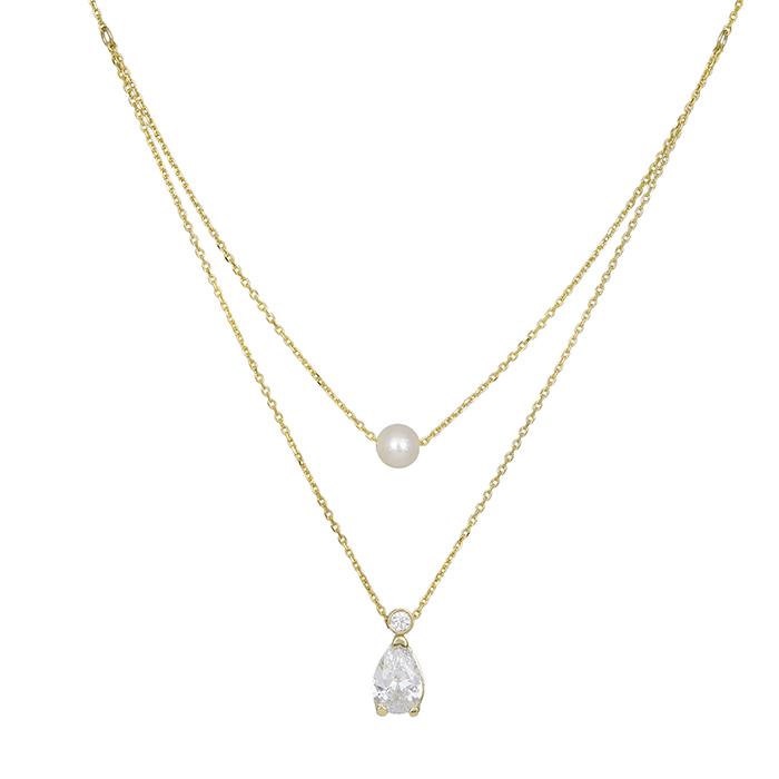 Κολιέ χρυσό Κ14 διπλό με μαργαριτάρι και δάκρυ ζιργκόν 030660  d7c6512992d