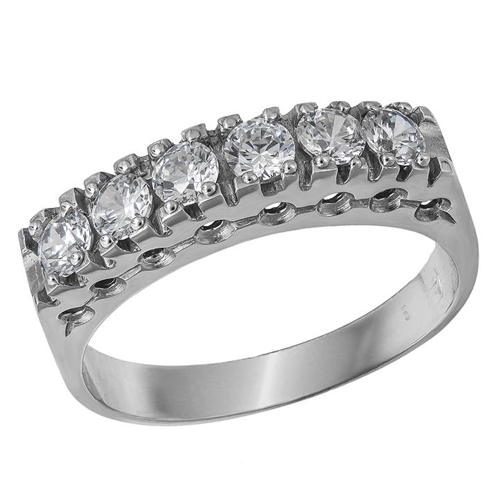 Σειρέ δαχτυλίδι Κ14 λευκόχρυσο με ζιργκόν πέτρες 030729  d7b08c848dc