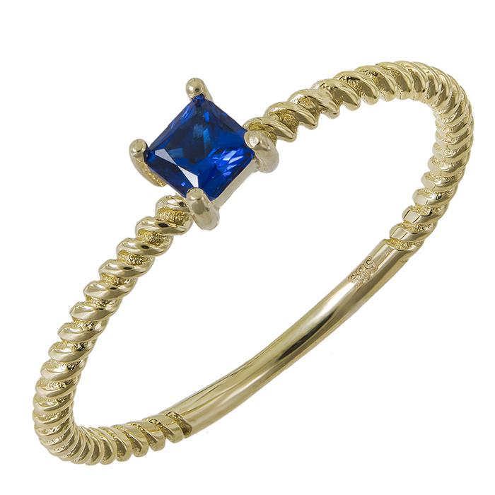 Γυναικείο χρυσό δαχτυλίδι Κ14 με μπλε πέτρα ζιργκόν 031516  d338c73b5b7