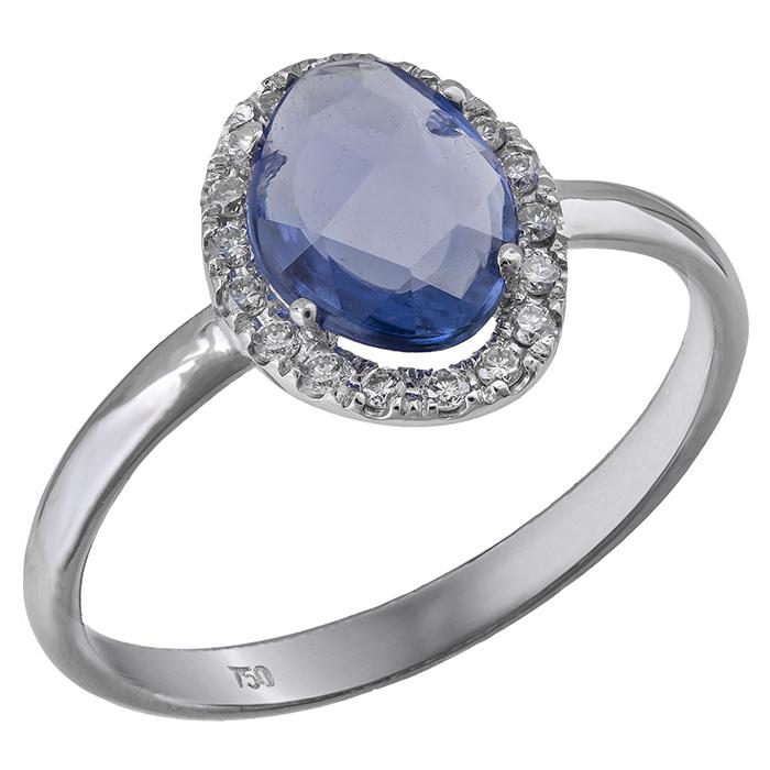 Λευκόχρυσο δαχτυλίδι Κ18 ροζέτα με ζαφείρι 031817  0153be405ea