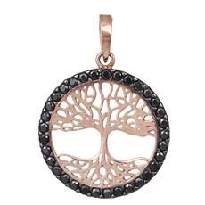 Κρεμαστό Κ14 ροζ χρυσό δέντρο ζωής με μαύρες ζιργκόν 029322 618e30bea9f