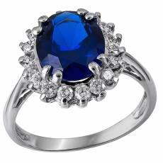 Λευκόχρυσο δαχτυλίδι Κ14 ροζέτα με μπλε πέτρα 030814 36fafc27ca9