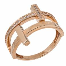 Διπλό ροζ gold δαχτυλίδι Κ14 με ζιργκόν πέτρες 031596 0cb3363ca2b