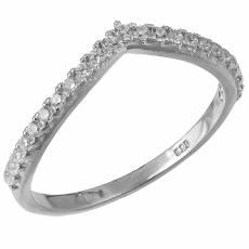 Λευκόχρυσο σειρέ δαχτυλίδι Κ14 V με ζιργκόν πέτρες 031695 2da55e06af9