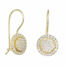 Χρυσά κρεμαστά σκουλαρίκια Κ14 πετράτη ροζέτα 031859 c2c62bf23ab