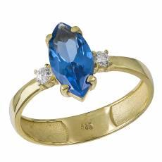 Χρυσό δαχτυλίδι ναβέτα Κ14 με μπλε πέτρα ζιργκόν 032054 847ec280ff2