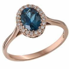 Δαχτυλίδι ροζ gold K18 ροζέτα με μπριγιάν και topaz 032252 0eb61122a8a