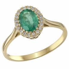 Χρυσό δαχτυλίδι Κ18 με σμαράγδι και μπριγιάν 032286 1b318de5853