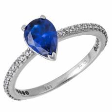 203e38aee3 Λευκόχρυσο δαχτυλίδι αρραβώνων 14Κ με μπλε πουάρ πέτρα 033557