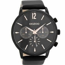 OOZOO Τimepieces Black leather strap C8771