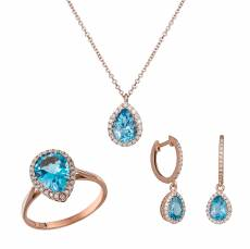 Σετ ροζ gold K18 pear swiss topaz SET033900