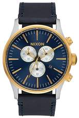 Ρολόι Nixon Sentry Chrono Black Leather Strap A405-1922-00