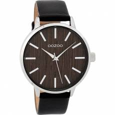 OOZOO Timepieces Wood Black leather strap C9254