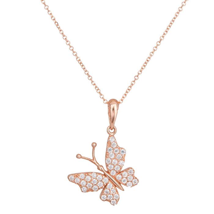 Γυναικείο κολιέ Κ14 ροζ gold πεταλούδα με ζιργκόν 027672 027672 Χρυσός 14 Καράτια