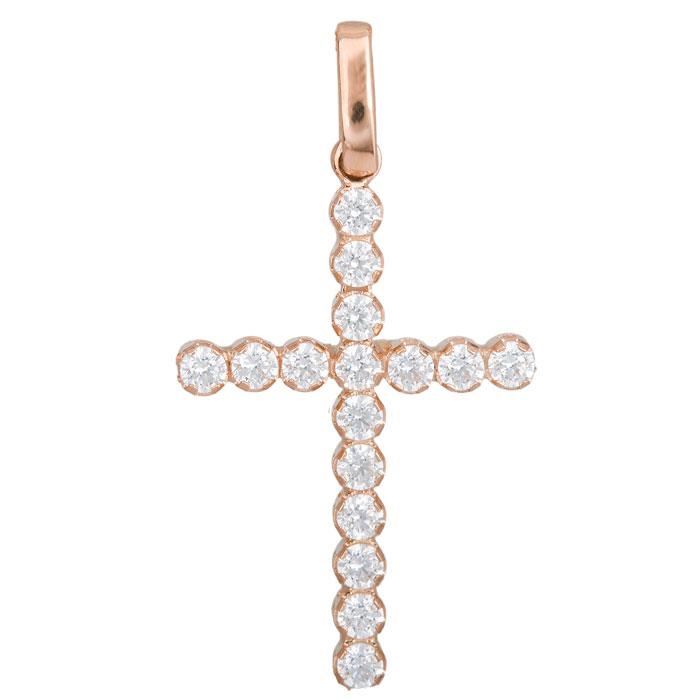 Γυναικείο σταυρουδάκι Κ14 ροζ gold με ζιργκόν 027733 027733 Χρυσός 14 Καράτια