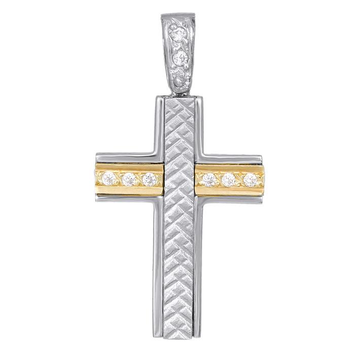Σταυροί Βάπτισης - Αρραβώνα Σταυρός δίχρωμος 14 Κ 002251 002251 Γυναικείο Χρυσός 14 Καράτια