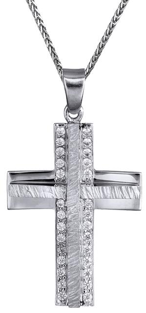 Βαπτιστικοί Σταυροί με Αλυσίδα Γυναικείος λευκόχρυσος σταυρός Κ14 C000018 000018C Γυναικείο Χρυσός 14 Καράτια