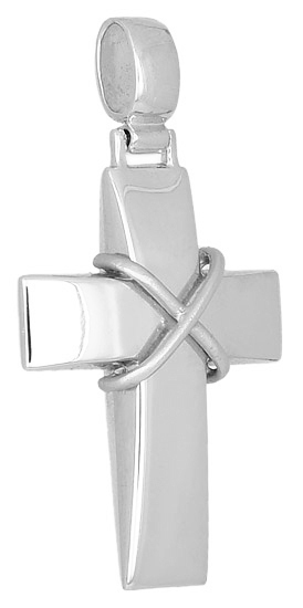 Σταυροί Βάπτισης - Αρραβώνα Λευκόχρυσος Σταυρός Κ14 000019 000019 Ανδρικό Χρυσός 14 Καράτια