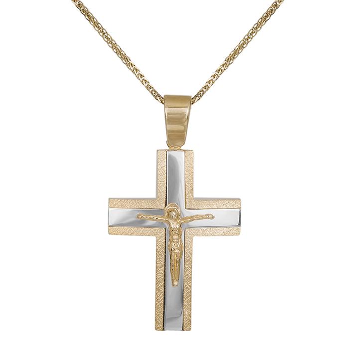 Βαπτιστικοί Σταυροί με Αλυσίδα Ανδρικός σταυρός με τον Εσταυρωμένο Κ14 C000037 000037C Ανδρικό Χρυσός 14 Καράτια