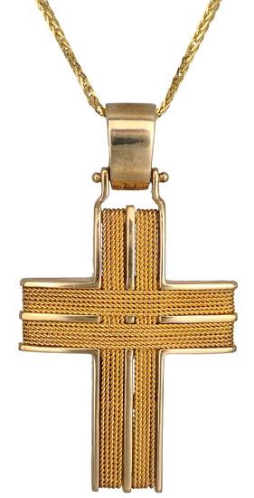 Βαπτιστικοί Σταυροί με Αλυσίδα Σταυροί αντρικοί 9Κ C014757 014757C Ανδρικό Χρυσός 9 Καράτια