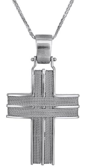 Βαπτιστικοί Σταυροί με Αλυσίδα Ανδρικοί σταυροί λευκόχρυσοι C000048 000048C Ανδρικό Χρυσός 14 Καράτια