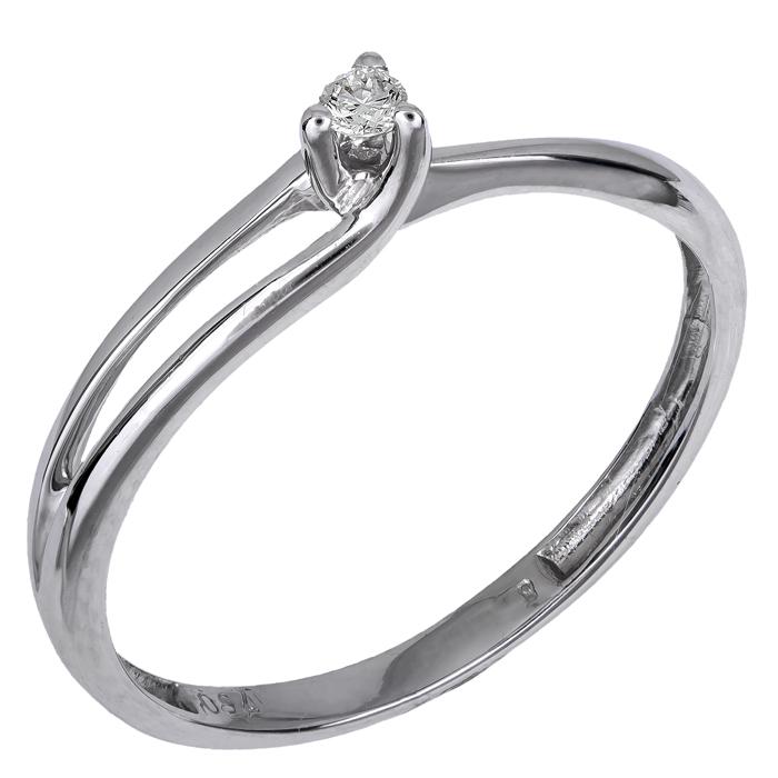 Μονόπετρο Λευκόχρυσο Δαχτυλίδι 18Κ με Διαμάντι 006355 006355 Χρυσός 18 Καράτια