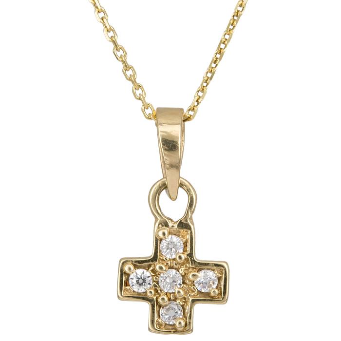 Χρυσό σταυρουδάκι με πέτρες Κ14 C010957 010957C Χρυσός 14 Καράτια