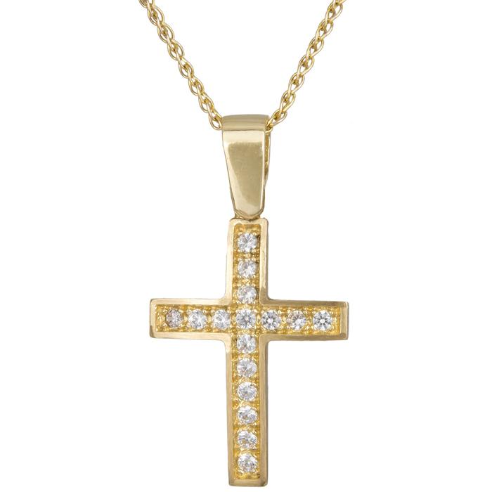 Χρυσός Γυναικείος Σταυρός C012307 012307C Χρυσός 14 Καράτια χρυσά κοσμήματα σταυροί